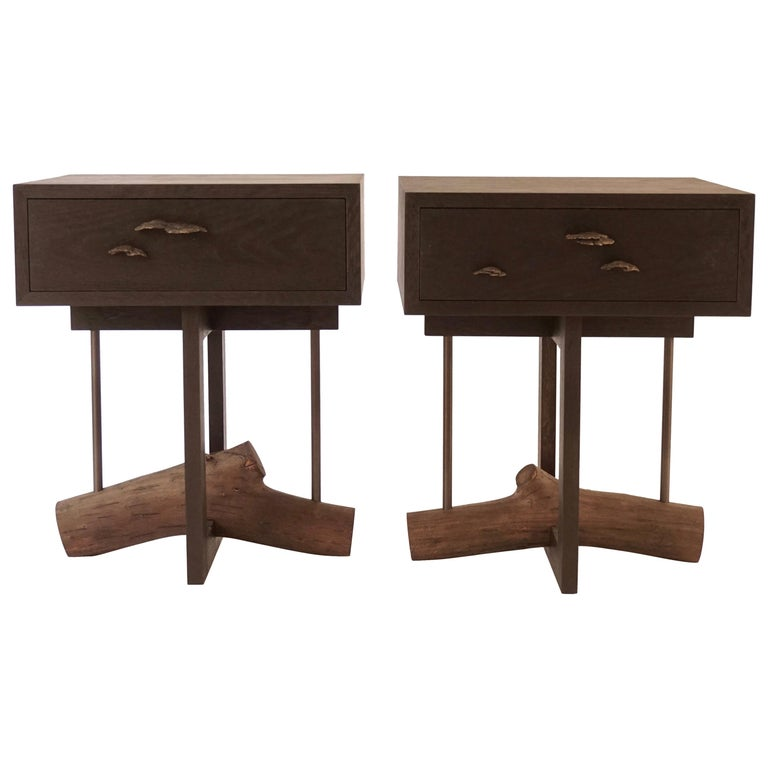 Elm Branch Bedside Tables by Chris Lehrecke with Bronze Mushroom Pulls For Sale