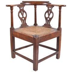 Elm Chippendale Corner Chair, circa 1780-1820