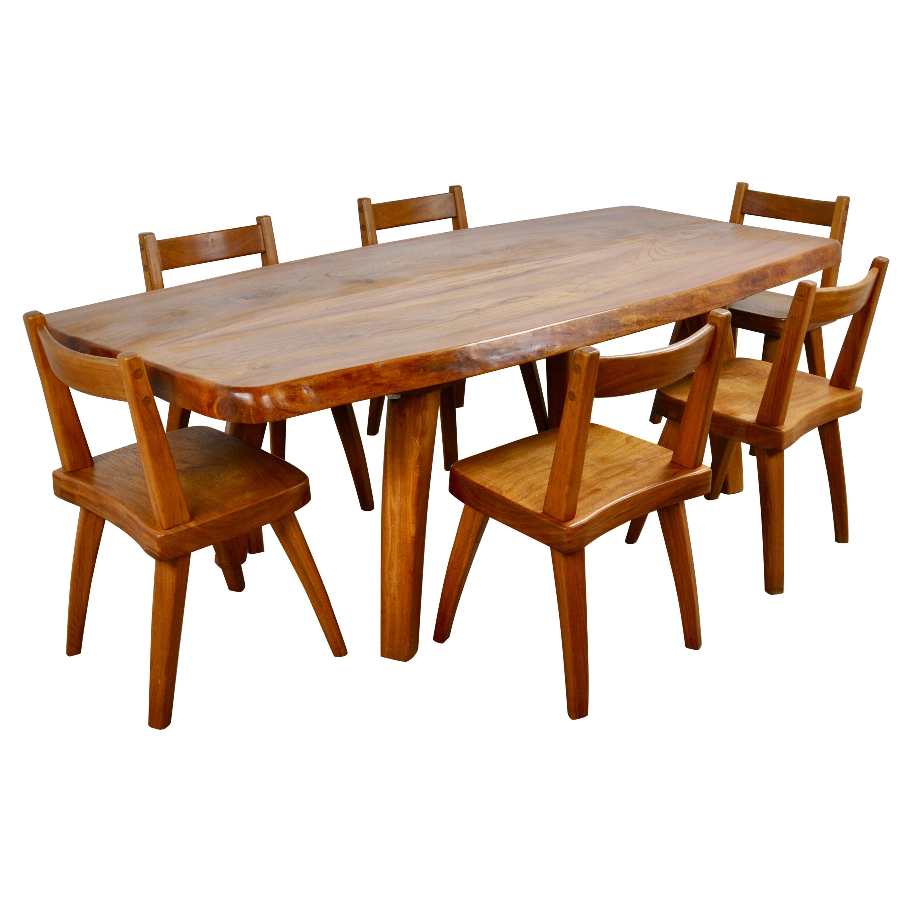 Elm Dining Table and Six Elm Chairs, 1960s