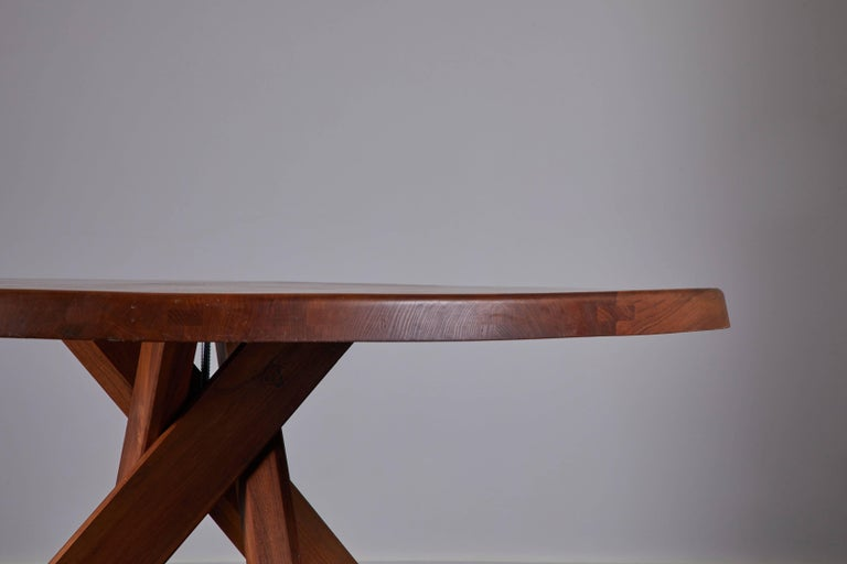 Elm Dining Table by Pierre Chapo For Sale 5