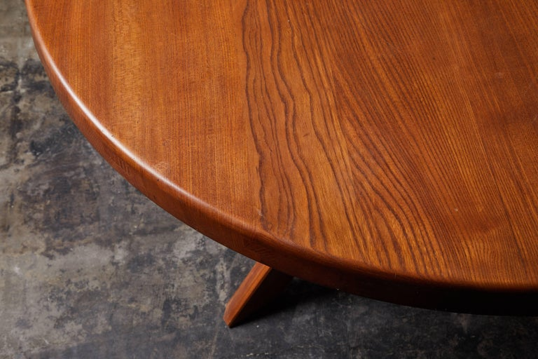 Elm Dining Table by Pierre Chapo For Sale 6