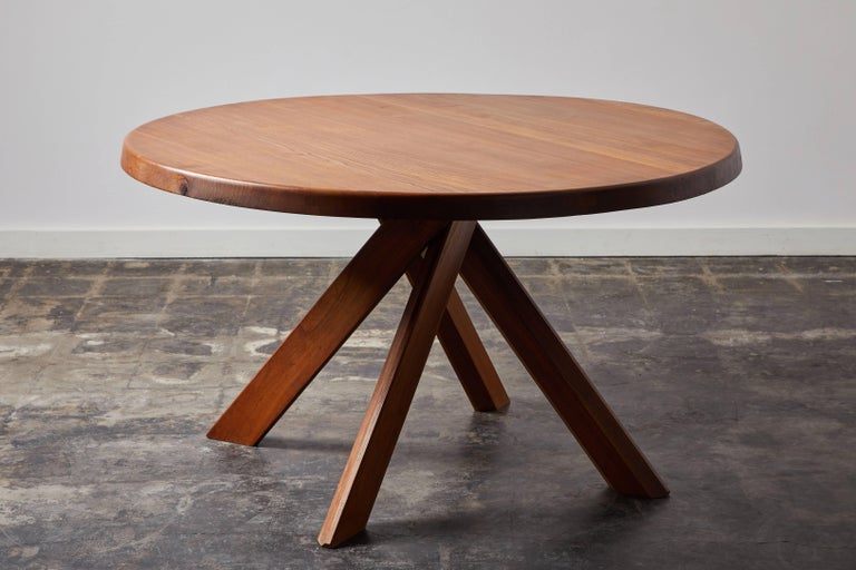 French Elm Dining Table by Pierre Chapo For Sale
