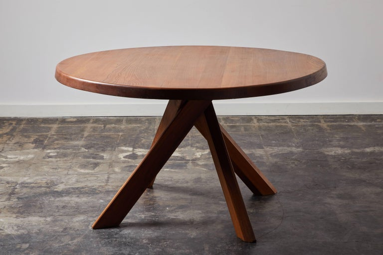 Elm Dining Table by Pierre Chapo In Excellent Condition For Sale In Los Angeles, CA