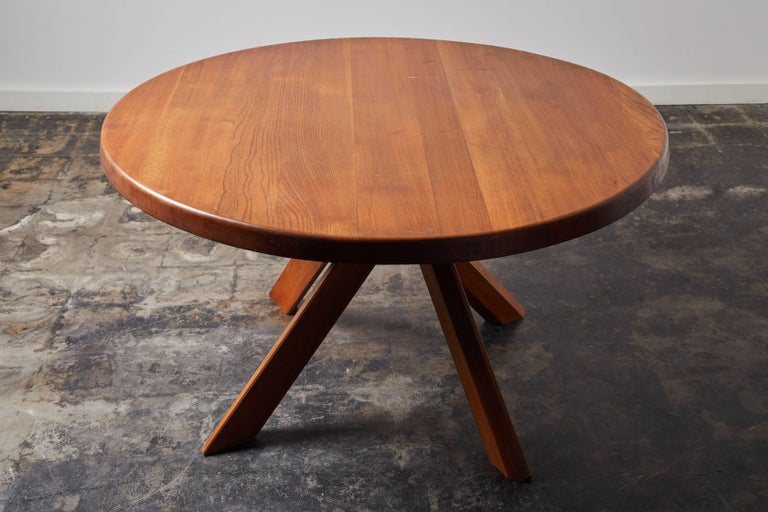 Mid-20th Century Elm Dining Table by Pierre Chapo For Sale