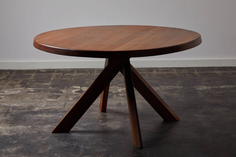 Elm Dining Table by Pierre Chapo For Sale 1