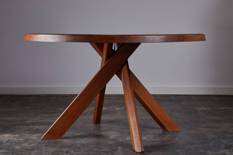 Elm Dining Table by Pierre Chapo For Sale 2