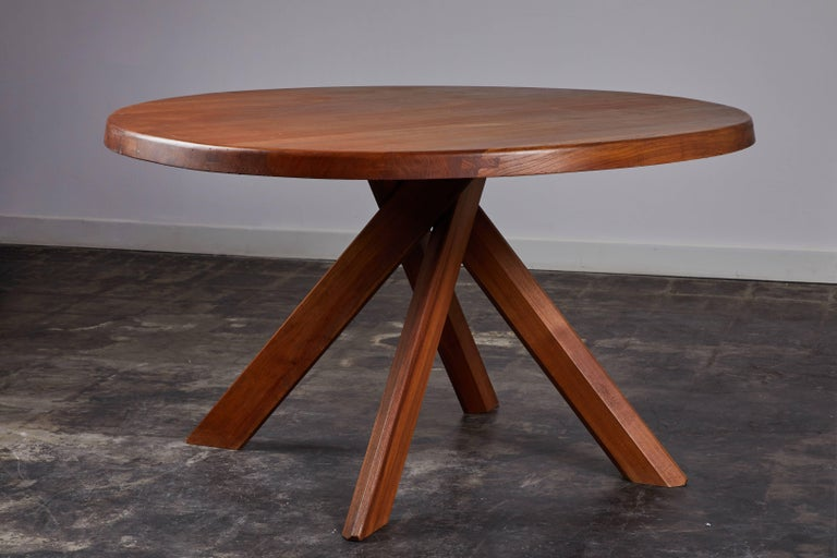 Elm Dining Table by Pierre Chapo For Sale 4