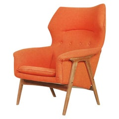 Elm Orange Wing Master Chair by Thorbjörn Afdal for Bruksbo Nesjestranda, 1960s