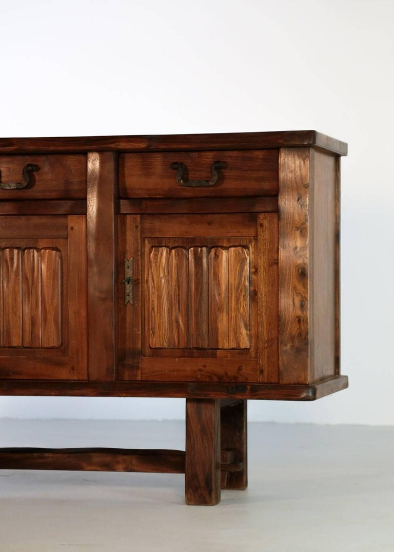 Elm Sideboard by Olavi Hanninen, 1960s In Excellent Condition For Sale In Lyon, FR