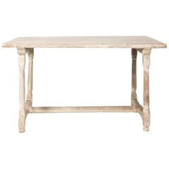 Antique Swedish Country White Washed Elm Dining Table