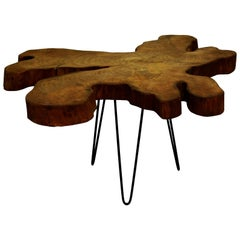 Elm Tree Live Edge Coffee Table with Hairpin Legs / LECT102
