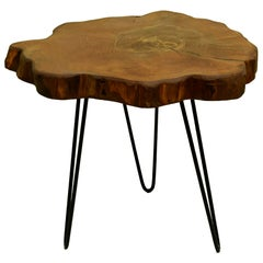 Elm Tree Live Edge Coffee Table with Hairpin Legs / LECT124
