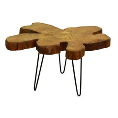 Elm Tree Live Edge Coffee Table with Hairpin Legs / LECT136