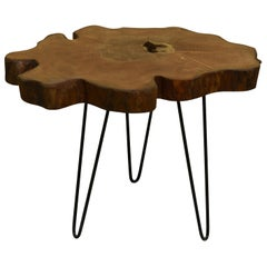 Elm Tree Live Edge Coffee Table with Hairpin Legs / LECT146