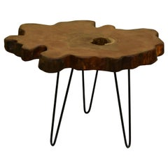 Elm Tree Live Edge Coffee Table with Hairpin Legs / LECT147