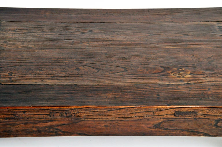 19th Century Elm Wood Coffee Table For Sale