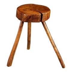 Elm Wood Tripod Cricket Table or Stool