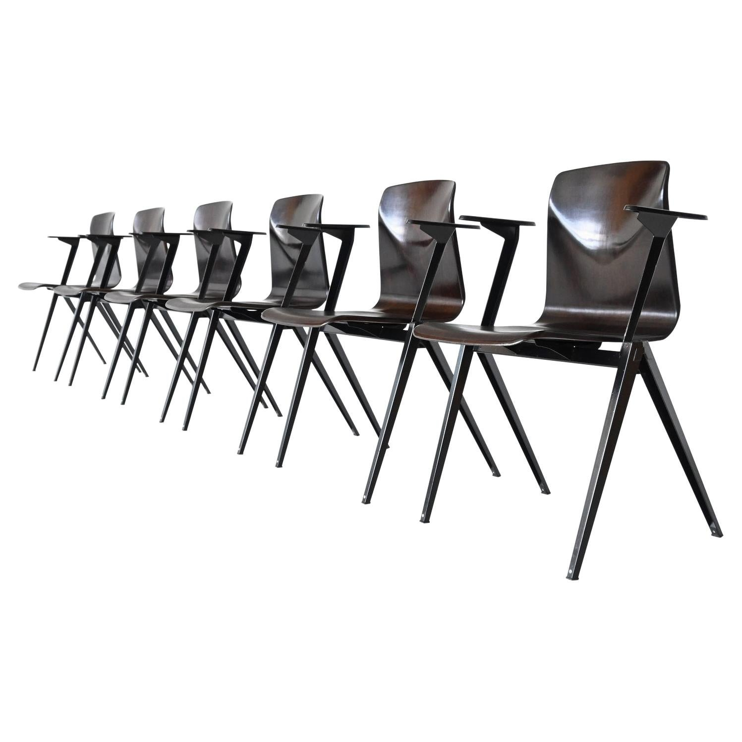 Elmar Flototto Model S22 Stacking Chairs with Arms Pagholz Germany 1970