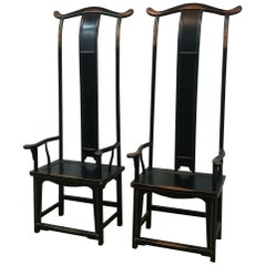Elmwood Ming Chinese 20th Century Tall Black Asian Chairs