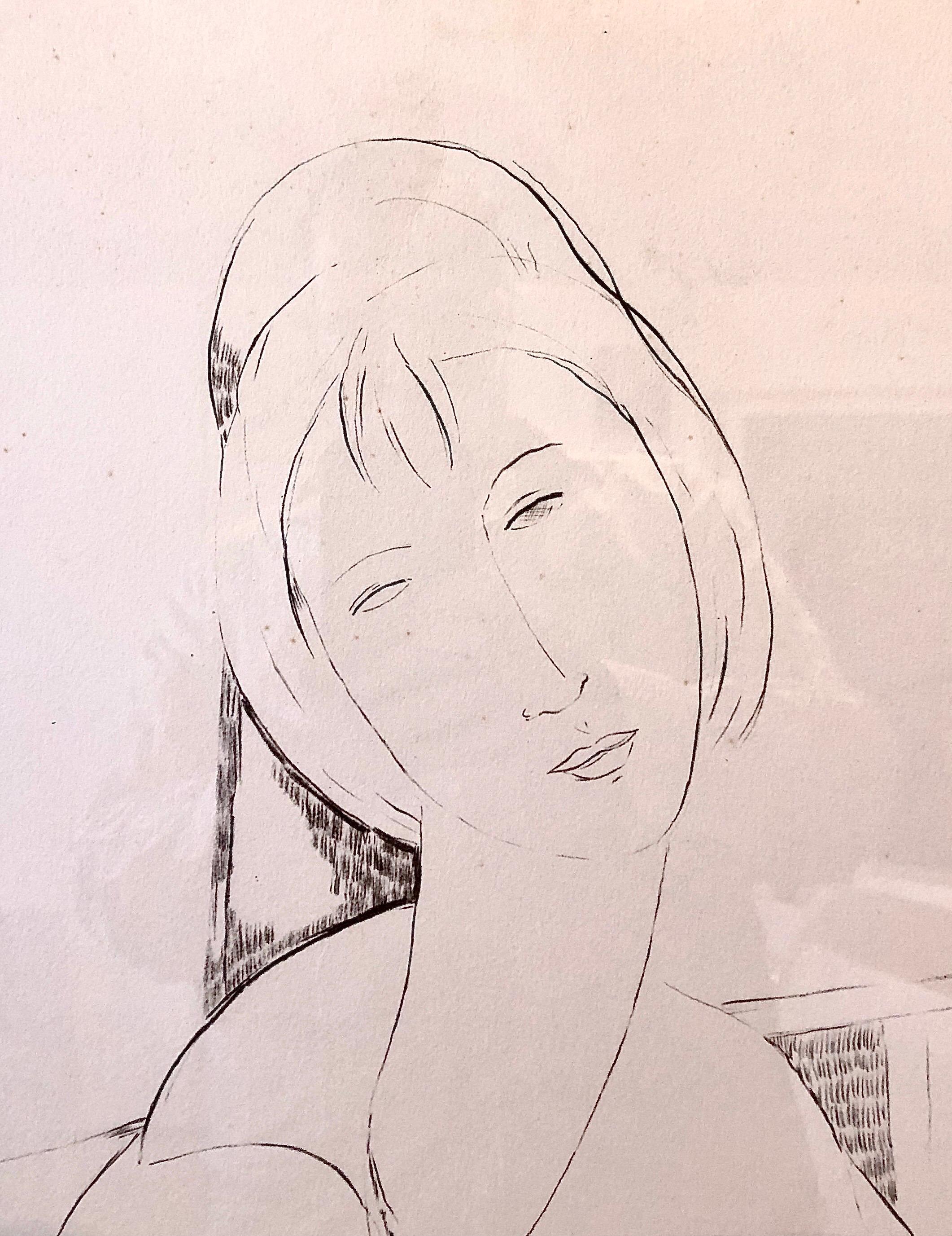 Elmyr De Hory Lithograph after Modigliani Art Deco Head of Woman Hand Signed
