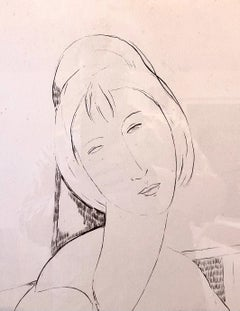 Elmyr De Hory Lithograph after Modigliani Art Deco Head of Woman Hand Signed