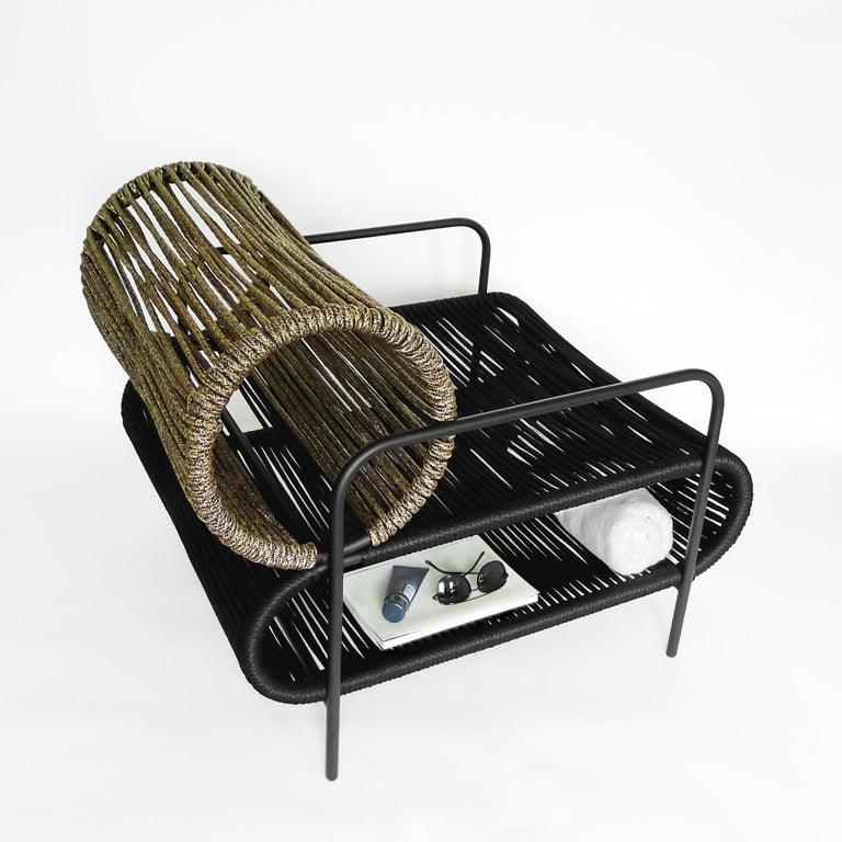 Post-Modern ELO Armchair and Footstool Set in Metal and Rope for Indoor and Outdoor Use For Sale