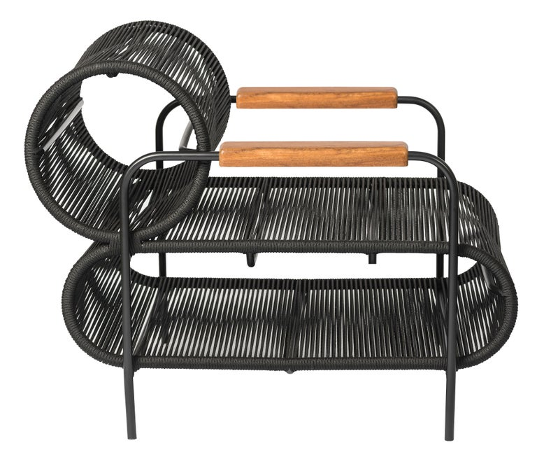 Brazilian ELO Armchair and Footstool Set for Indoor and Outdoor Use by Filipe Ramos For Sale