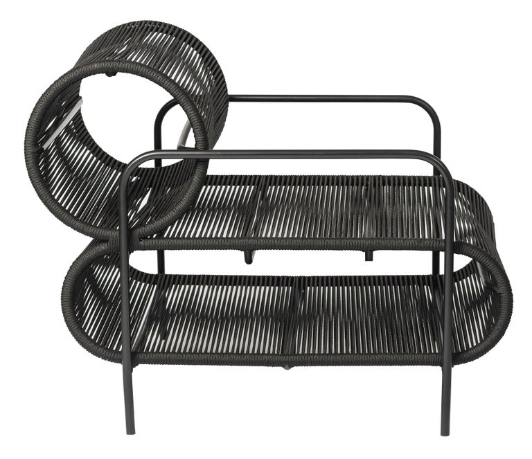 ELO Armchair and Footstool Set in Metal and Rope for Indoor and Outdoor Use In New Condition For Sale In Sao Paulo, Sao Paulo