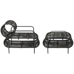 ELO Armchair and Footstool Set in Metal and Rope for Indoor and Outdoor Use