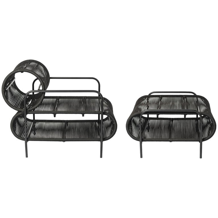ELO Armchair and Footstool Set in Metal and Rope for Indoor and Outdoor Use For Sale