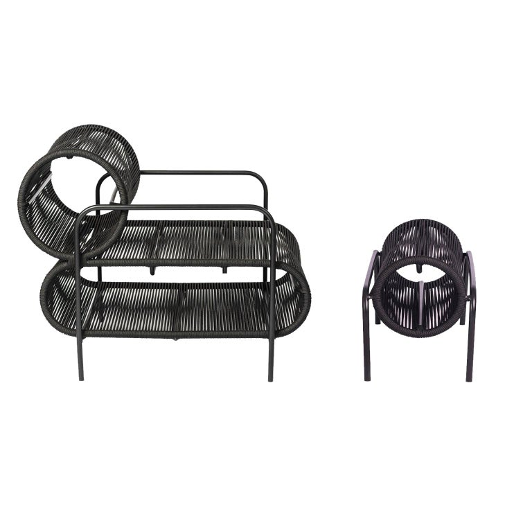 ELO Armchair and Footstool Set for Indoor and Outdoor Use by Filipe Ramos For Sale