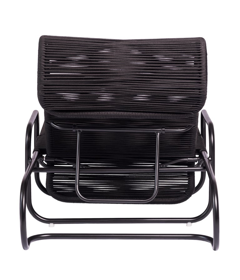 Brazilian ELO Chaise in Metal and Rope for Outdoor Use For Sale