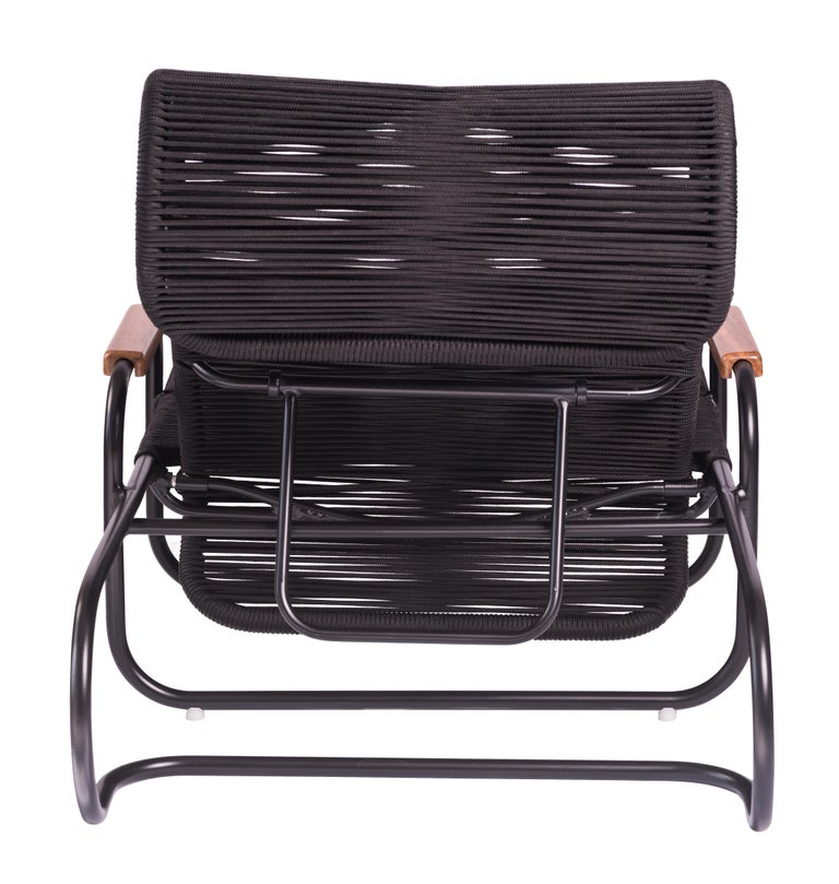 Brazilian ELO Chaise in Metal and Rope for Outdoor Use with Wood Arms For Sale