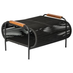 ELO Footstool in Metal and Rope for Indoor and Outdoor Use, with Wood Armrest