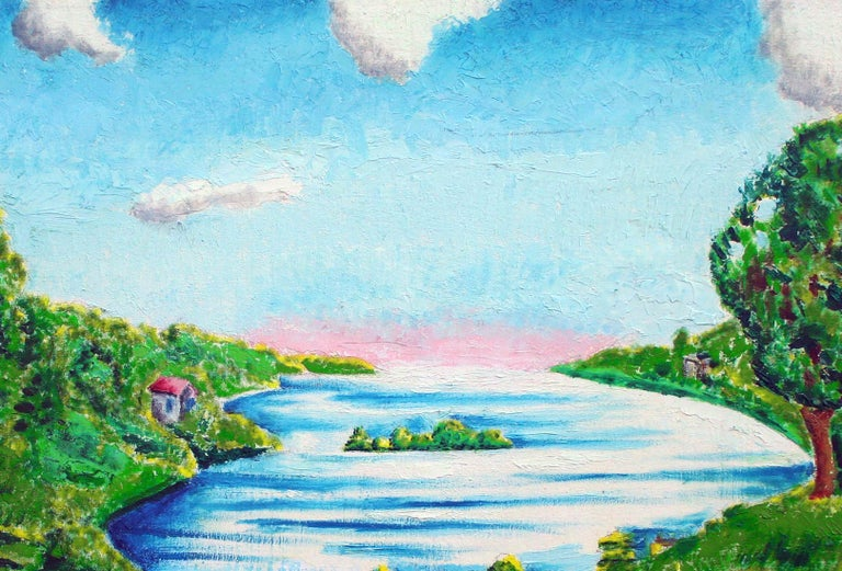 Sunrise on the Horizon - Idyllic Landscape - Painting by Eloisa Schwab