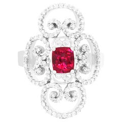 Elongated Antique Vintage Style 1 Carat Ruby and Diamond Ring