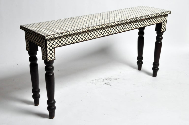 dbc2510cd5cf5 Indian Elongated Bone Inlay Console Table For Sale
