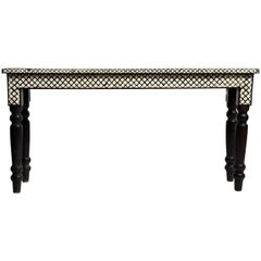 Elongated Bone Inlay Console Table