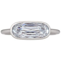 Elongated Cushion Cut 1.75 Carat Diamond Platinum Bezel Set Engagement Ring