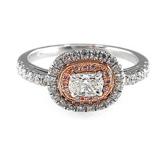 Inverted & Elongated Cushion Cut Diamond Halo Ring in Platinum and Rose Gold