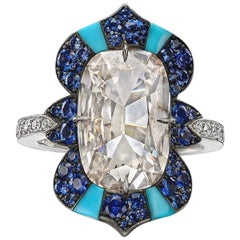Elongated Cushion Diamond, Sapphire and Turquoise Ring