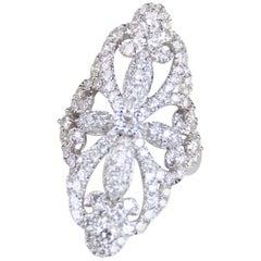 Elongated Filigree Pave Diamond and 14 Karat White Gold Ring