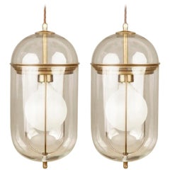 Pair of Elongated Glass and Bronze Pendant Lights, Italy, Contemporary