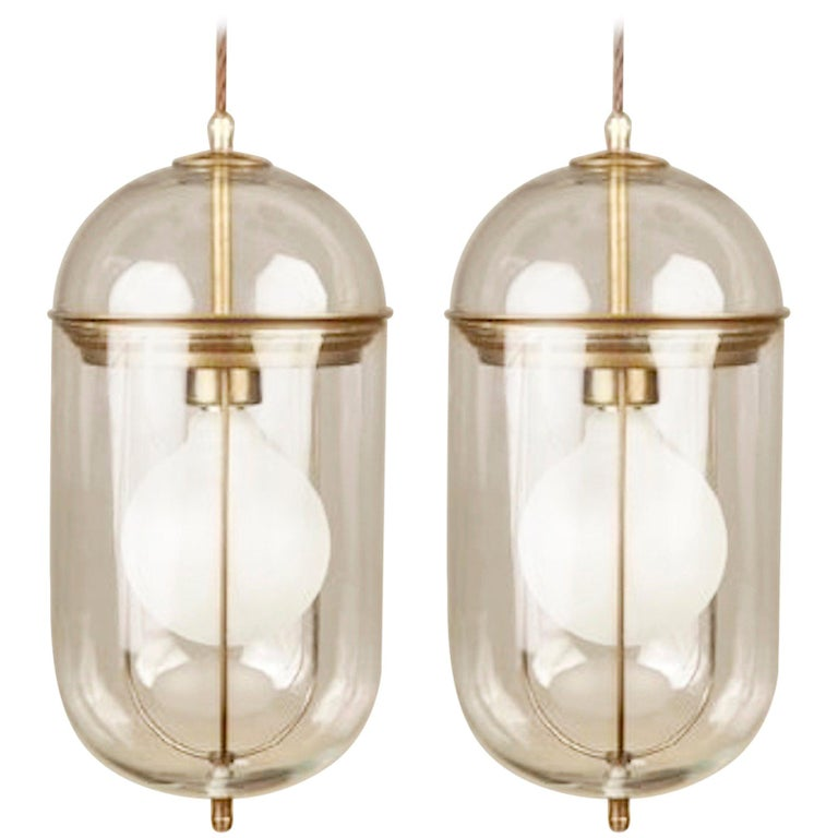 Pair of Elongated Glass and Bronze Pendant Lights, Italy, Contemporary For Sale