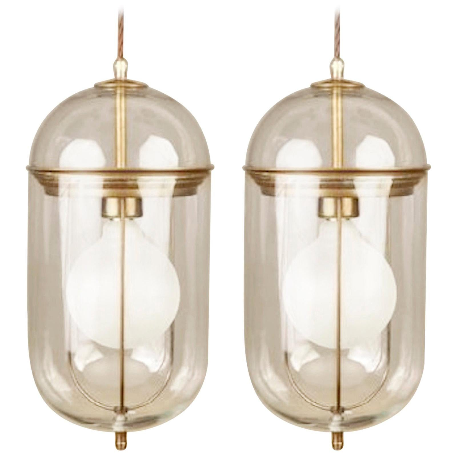 Elongated Glass and Bronze Pair Pendant Lights, Italy, Contemporary