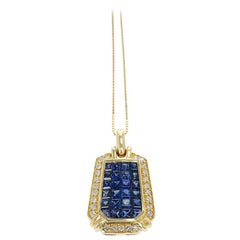 Elongated Hexagonal Mystery Set Sapphire and Diamond Pendant Necklace, 18K Gold