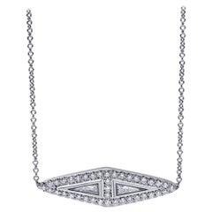 Elongated Modified Trillion Diamond Gladium Necklace, 18 Karat White Gold