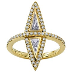 Elongated Modified Trillion Diamond Gladium Ring, 18 Karat Yellow Gold