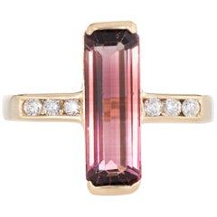Elongated Pink Tourmaline Diamond Ring Vintage 18 Karat Gold Estate Jewelry