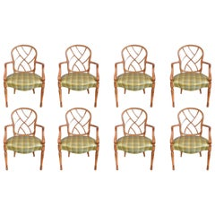 Eloquence Set of 8 French Hand Stencilled Country Style Dining Chairs